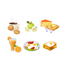 collection breakfast meal healthy food and vector image