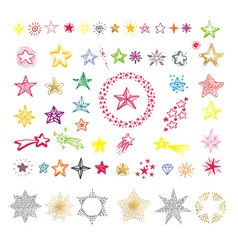 Collection multicolor star shapes isolated on vector