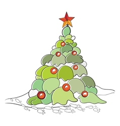 Color cartoon of Christmas Tree with toys and vector image