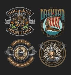 Colorful viking vintage badges vector