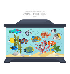Coral reef fish freshwater aquarium fish icon set vector