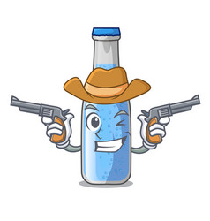 Cowboy soda water and ice cubes cartoon vector