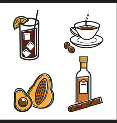 cuban food and drink cuba culture traveling vector image