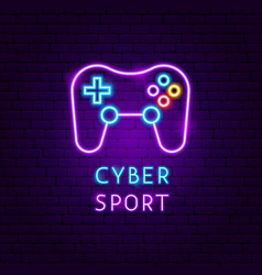 cyber sport neon label vector image