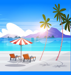 deck chairs on tropical beach summer seaside vector image