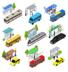 different types city public transport 3d icons set vector image