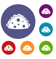 Empanada cheburek or calzone icons set vector