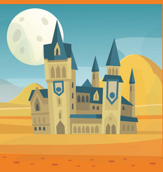 fantasy fairytale medieval castle in night vector image