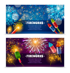 Firework crackers 2 festive banners set vector