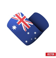 Flag icon in the form of heart I love Australia vector