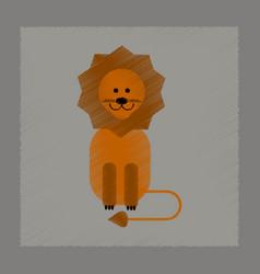 Flat shading style icon cartoon lion vector