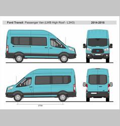 Ford transit passenger van l3h3 2014-2018 vector