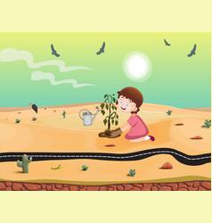 Girl planting in desert vector