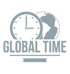 global time logo simple gray style vector image