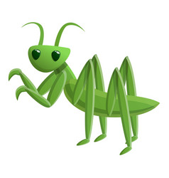 Green mantis icon cartoon style vector