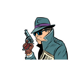 Gun spy secret agent vector