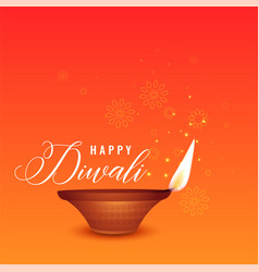 Happy diwali beautiful orange background with vector