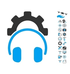 Headphones Configuration Gear Icon With Air Drone vector
