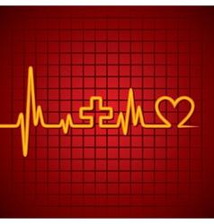 Heart beat make medical and heart symbol vector image