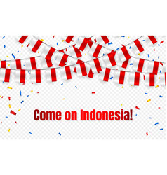 Indonesia garland flag with confetti vector