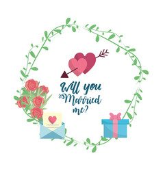 just married hearts with arroe with romantic vector image