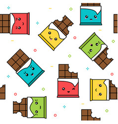 kawaii cute chocolate colorful seamless pattern vector image