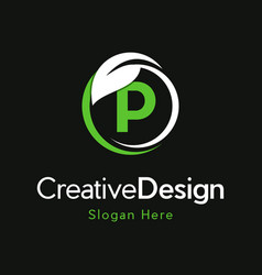 Letter p circle leaf creative business logo vector