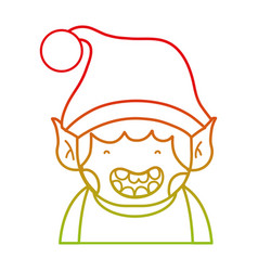 line merry christmas elf with cute hat vector image
