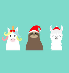 llama alpaca sloth face set red santa hat merry vector image