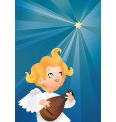 luteist angel musician flying on a night sky vector image