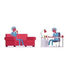 Male nurse working and resting vector