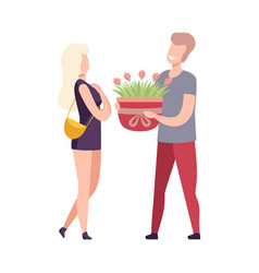 man giving pot with blooming flowers to beautiful vector image