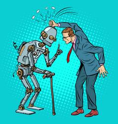 man versus old robot vector image