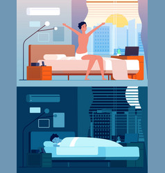 man wake up male characters in bed night relax vector image