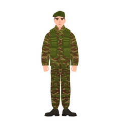 Military man or serviceman dressed in army vector