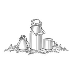 milk can on grass sketch vector image