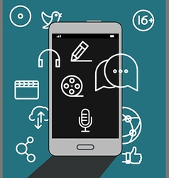 Modern smartphone with media icons vector image