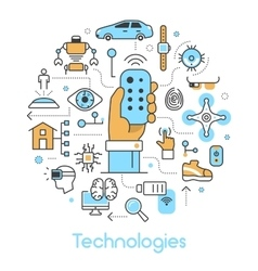 Modern Technologies Line Art Thin Icons Set vector image