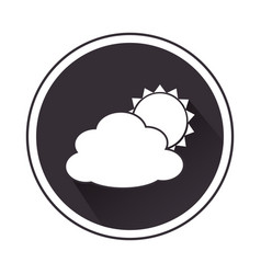 Monochrome border with silhouette cloud and sun vector