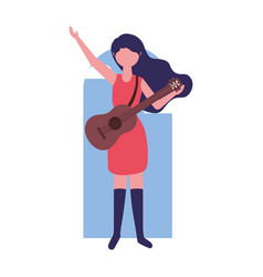 Musician woman with guitar instrument vector