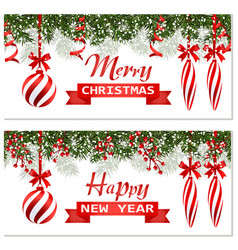 new year christmas two flyer business cards vector image
