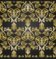 orient seamless black and golden background vector image