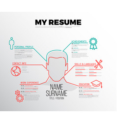 original minimalist cv resume template vector image