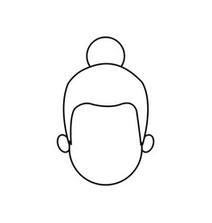 Outline head girl character person vector