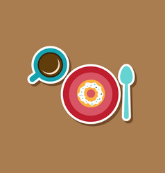 paper sticker on stylish background coffee break vector image