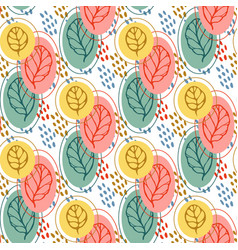 pattern with stylized leaves autumn leaf seamless vector image vector image