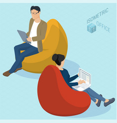 People sitting at bean bag chairs vector