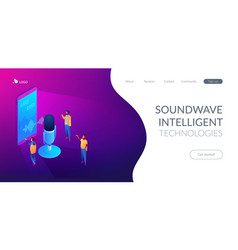 Personal voice assistant isometric 3d landing page vector