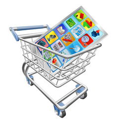 Phone in shopping cart vector