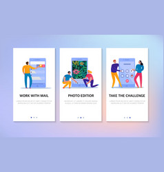 phone interaction banners set vector image